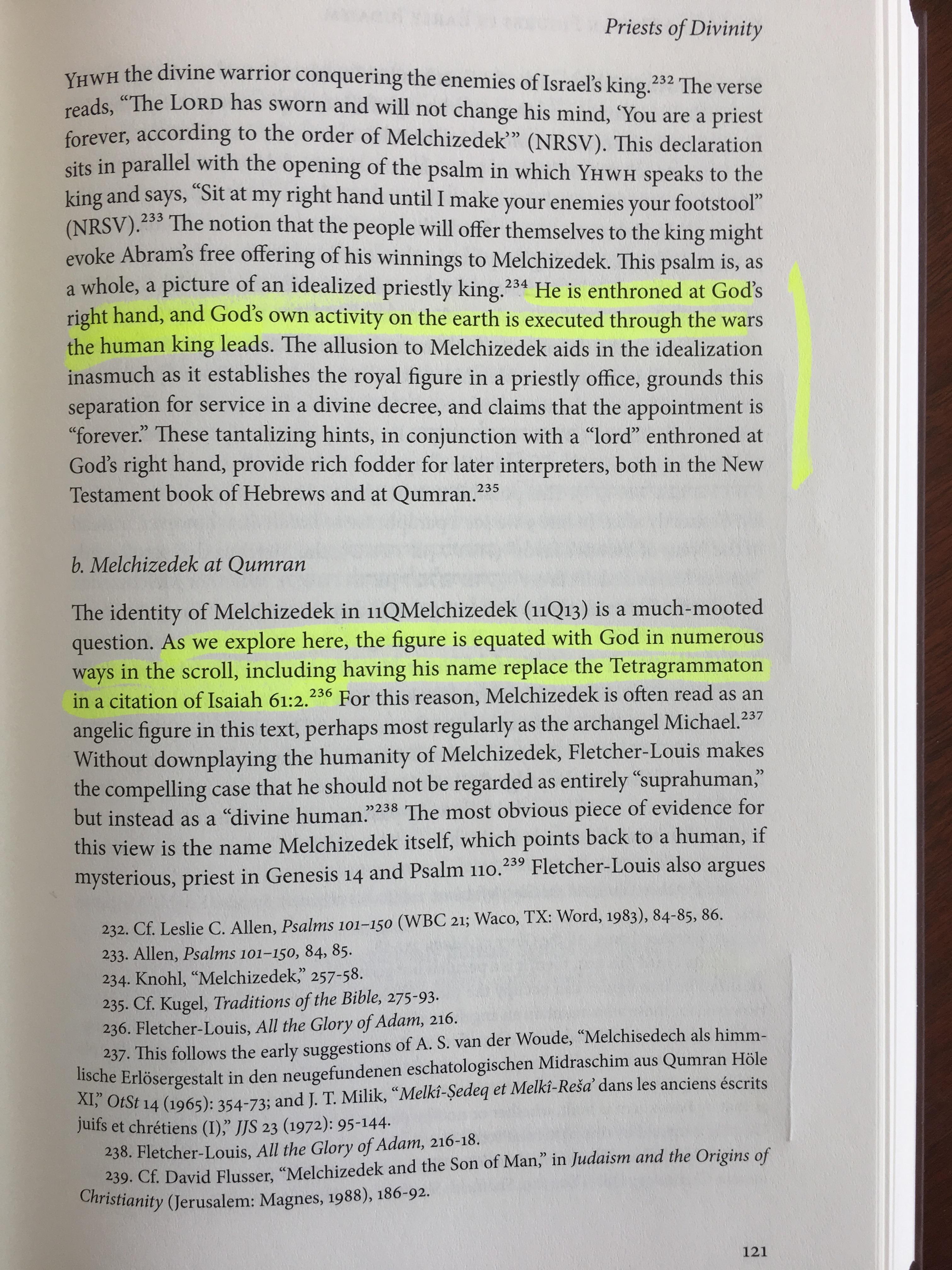 Melchizedek is called Yahweh in the Dead Sea Scrolls